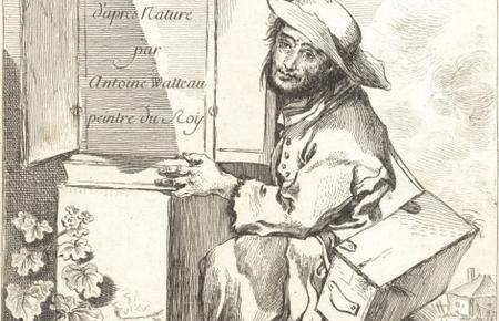 Savoyard, un genou à terre, près de son armoire à curiosités